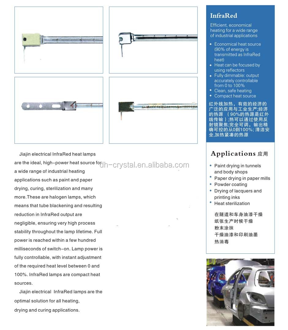 electrical infrared Heating lamp halogen heating lamps