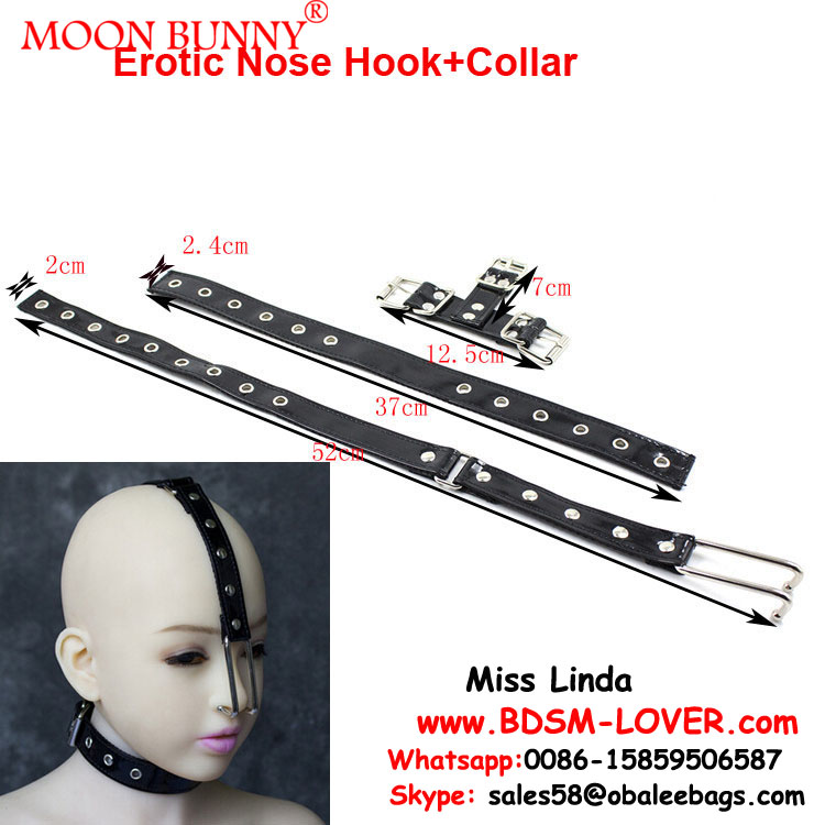 Women SM Stainless Steel&Fetish PVC Nose Hook+Collar Bondage Belt