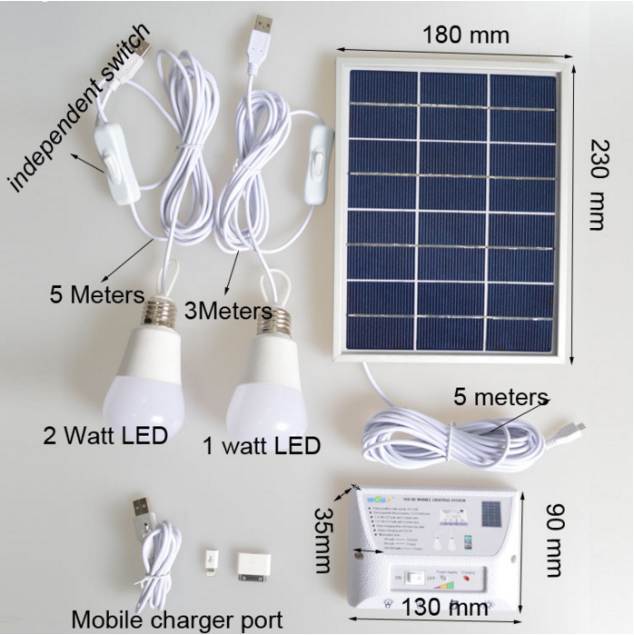 Lithum Battery 5v 4.5W Home Solar Lighting System including USB port for Cell Phone Charger (YH1002)