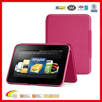 Stand leather case cover for kindle fire hot pink color, case for kindle fire manufacturers & wholesales