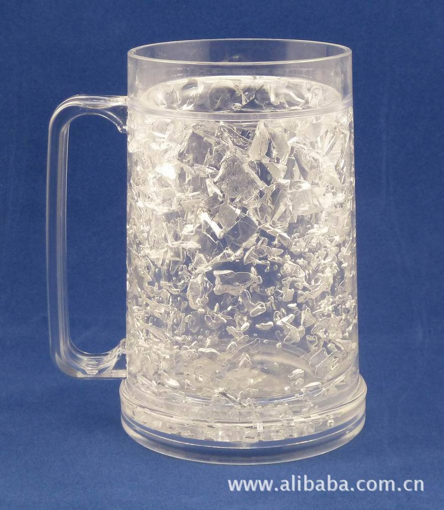McDonald Walmart Sedex audit Manufacture Bpa Free Hot selling Summer Double Wall Frosty Gel Plastic Freezer Beer Mug With Hanlde