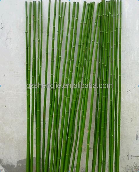 Bamboo poles green color for indoor design decoration