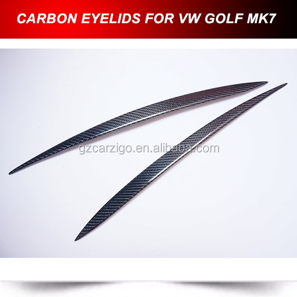 carbon front headlight eyelids covers for volkswagen vw golf mk7 2013-2014