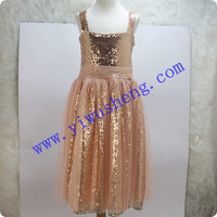 2015 Peach Chiffon Long Evening Dress Sequin Beaded Dress Maxi Size Children Bling Bling Girl Dress
