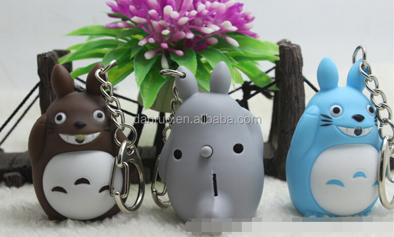 2016 NEW Sound led key chain 3D cartoon TOTORO BS-099