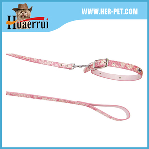 Pink Pu Leather Pet Dog Puppy Collar and Leash with Rhinestones bone Charm