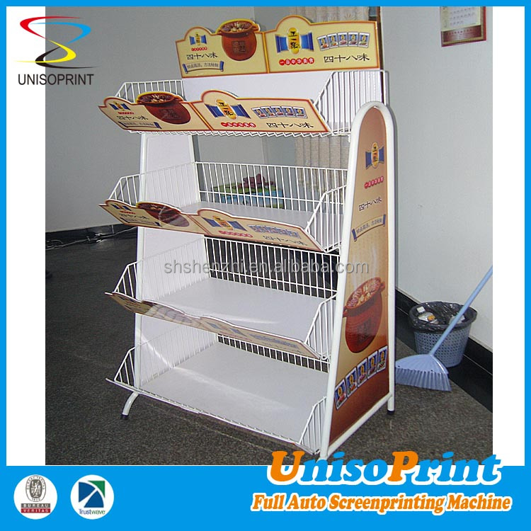 metal hook display stands style cardboard/coreflute kids food retail counter display for advertising