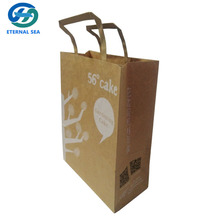 high quality brown kraft paper bag with flat handle