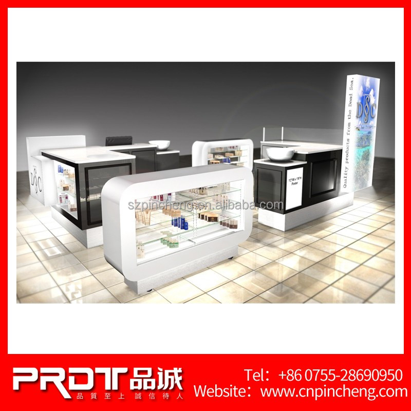 Retail Store Furniture Showcase For Cosmetic Display Custom Wooden Mall Hair Salon Kiosk For
