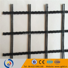 compound strength polyester biaxial geogrid PET grids for Structural layers supporting road