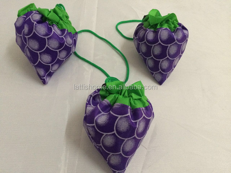 Fashion foldable bag and lovely grape shape shopping folding bag for shopping and promotiom