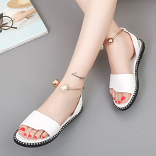 HFCS375 Wholesale Latest Style Comfort Ladies pearl buckle flat womens sandals