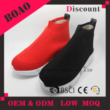 Breathable lightweight high top flyknit fabric shoes men casual winter boots