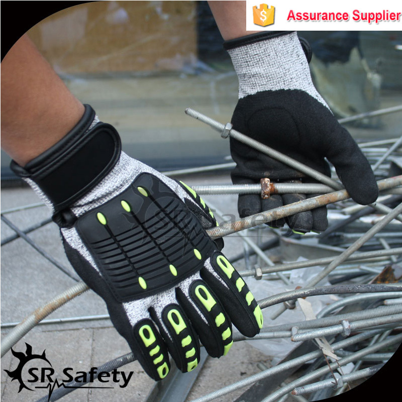 SRSAFETY TPR mechanic safety hand glove,nitrile sandy finished,china supplier resistance cut