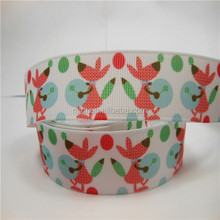 Hot selling 22mm grossgrain ribbon heat transfer flat knit rib band with Mice play the drums printing