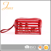 For accessories customized logo red clear makeup PVC cosmetic bag box
