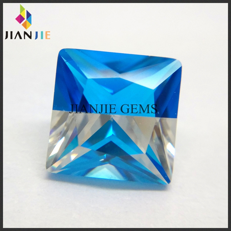 Multicolor Gemstone Mixed Aqua Blue and White Color Square Cubic Zirconia