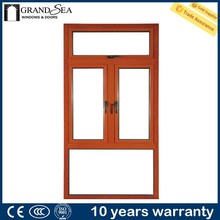 Hot sale stain glass aluminum alloy american stype casement window with hand crank for home