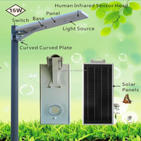 Factory price!15W/IP65,adjustable integrated All in One Solar LED Street Light!body infrared induction!!outdoor garden wall lamp