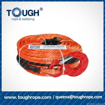 4WD off-road 4x4 synthetic electric winch rope with hook and sheath,12V,38000lbs,14mm*28m
