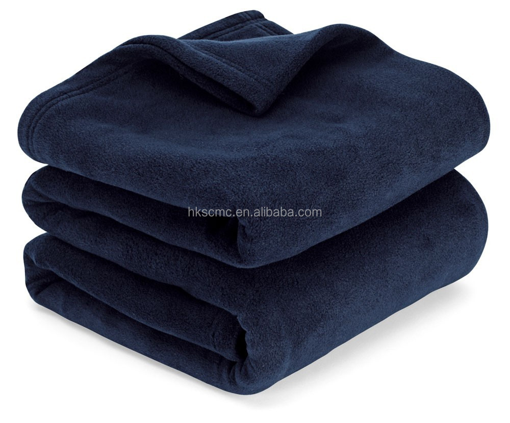 High quality super soft navy two side brushed King durability 100% polyester polar fleece blanket