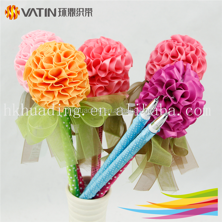 Wholesale Custom Promotional Cute Ballpoint Pen With Ribbon Flower