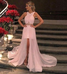 Pink Chiffon Prom Dress 2018 Halter Nech Short Front Long Back Party Gown Cheap