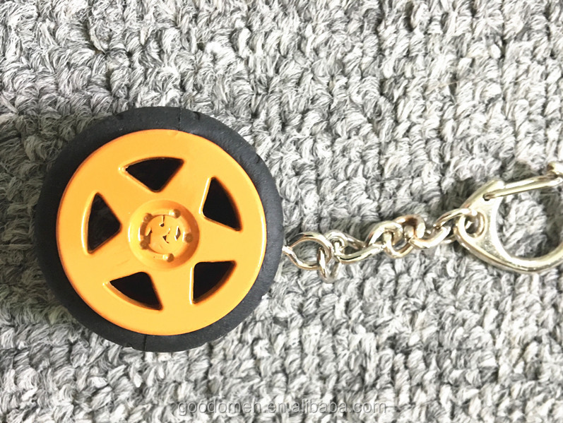 Metal Tyre Keychain 3D Car Round Rubber Wheel Keyring Tire as Advertising car Gift