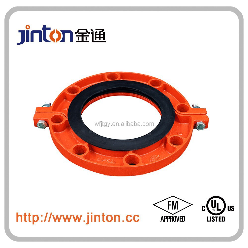 FM UL approved ductile iron pipe fitting cast iron connections of grooved flange