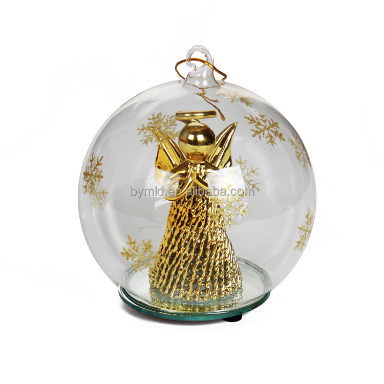 2018 New Design Glass Led Christmas Ball With Angel Figure Inside