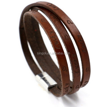 "2016 New Fashion Genuine Leather Magnetic Wrap Letter ""LUCKY"" Bracelet Multilayer Bracelets Bangles For Women / Men"