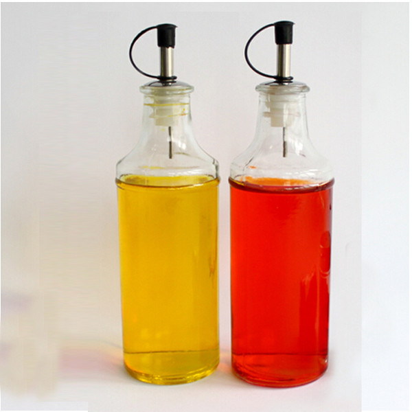Kitchen glass jar with spout for olive oil