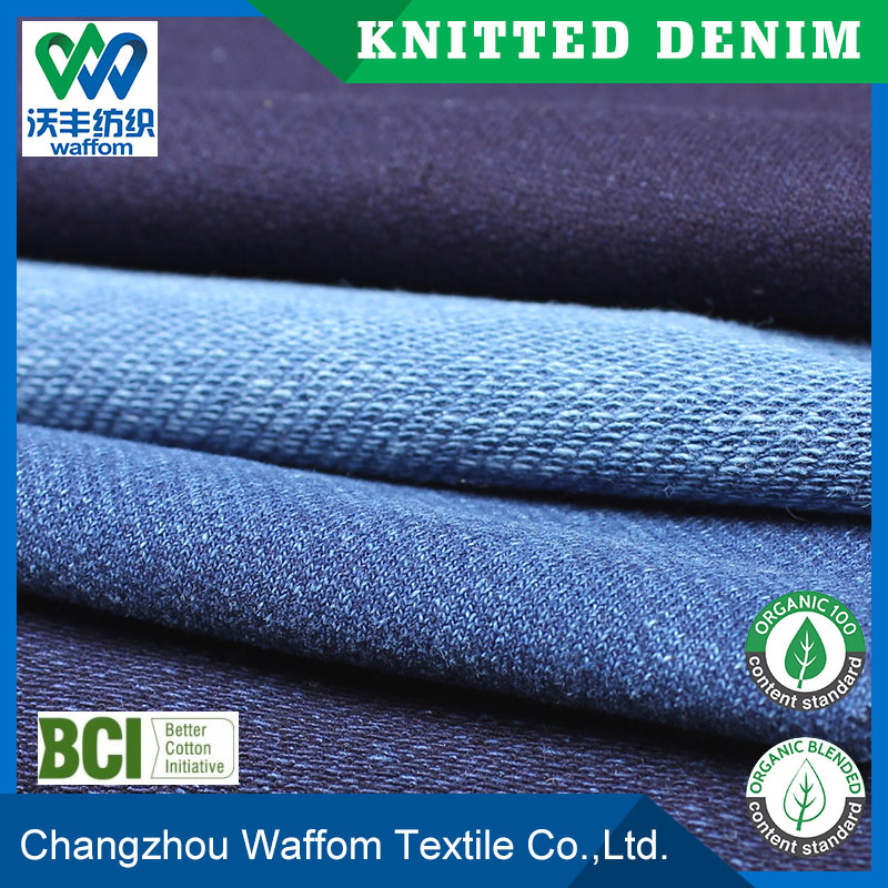 wholesale 3*3 indigo twill knit denim fabric for long jeans