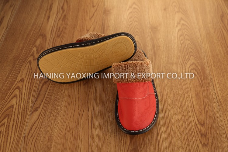 Hot sale cow hide gril warm slipper oem manufacturer