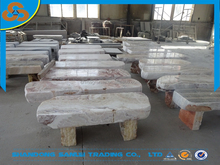 garden white and red color onyx marble carved bench stone for sale