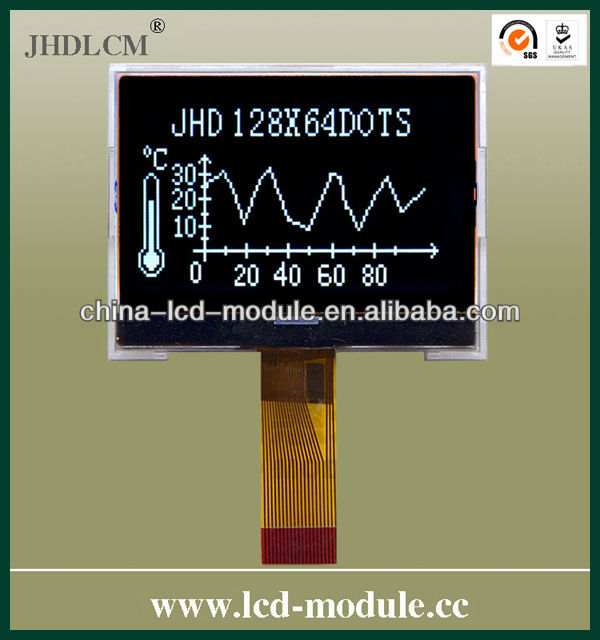128x64 2 inch lcd display screen JHD12864-G86BTW-BL