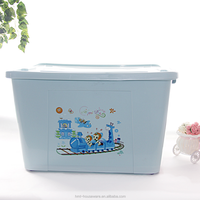Taizhou Hengming PP wholesale household plastic medium size 58L clothes storage box with wheel