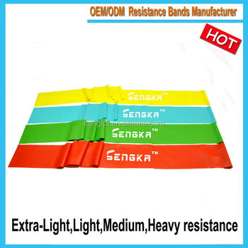 RB-001D exercise rubber latex aerobic resistance bands,elastic band good quality OEM