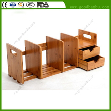 Wholesale Adjustable Bamboo Portable Bookshelf for Desktop