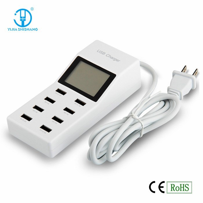 Universal 8 Port USB Wall Travel Charger with Display Auto Detect US EU plug