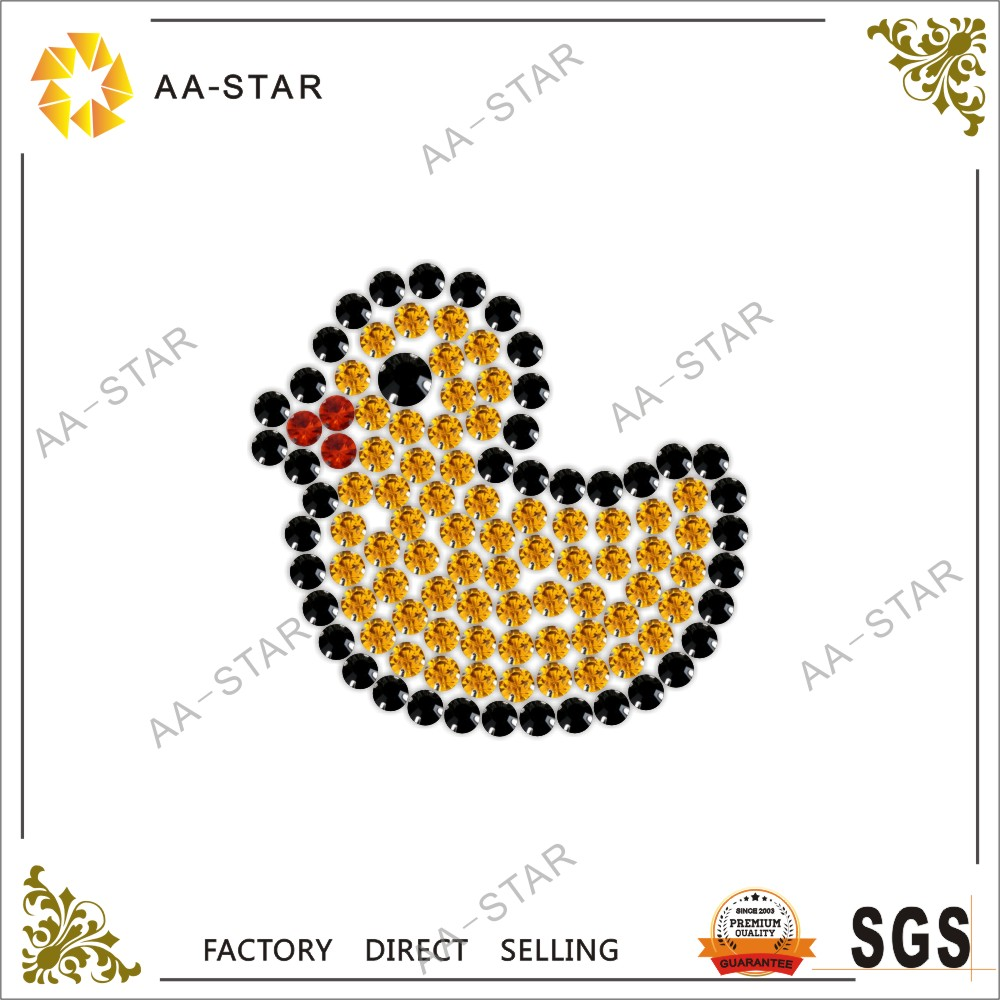 Yellow duck design custom iron on rhinestone appliques for toddlers