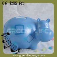 Electric gift Hippo Recordable Polyresin Coin Bank