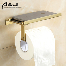 Wall Mounted Factory Product Stainless Steel 304 Gold Plated Toilet Paper Holder With Phone Shelf Bathroom Paper Holder