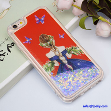 Color Fashion Newest Girl Creative Transparent Crystal Sand Bling Glitter Liquid Case For Iphone