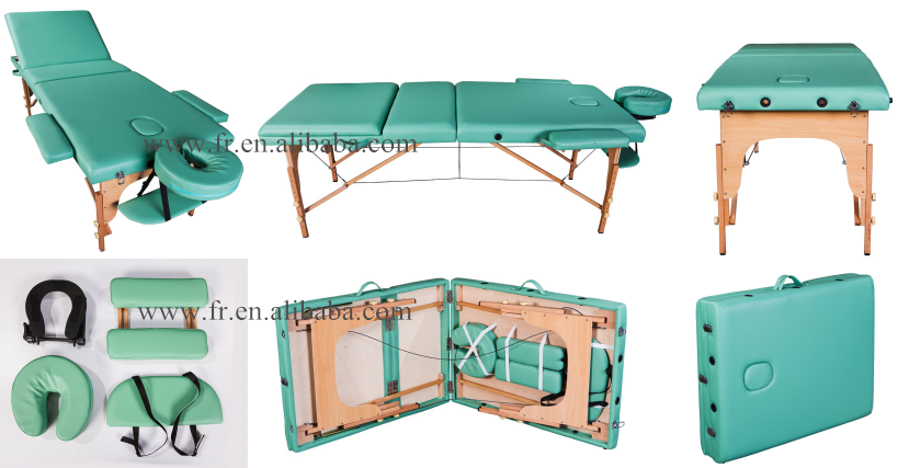 Anji FURUI Professional Lightweight Green 3-Section portable massage table Spa Reiki Couch Bed folding couch bed