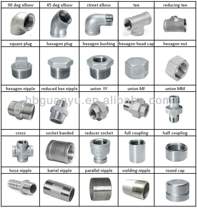 stainless steel 304 316 screwed pipe fittings, including elbow tee union cross coupling nipple nut cap plug bushing