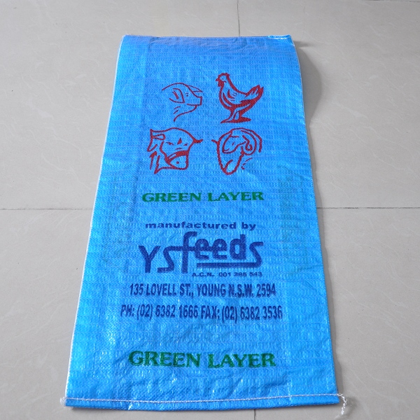 factory export printing logo blue waterproof animal feed pp clear bag for rice