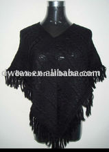 knitted shawl or plain poncho or black cape