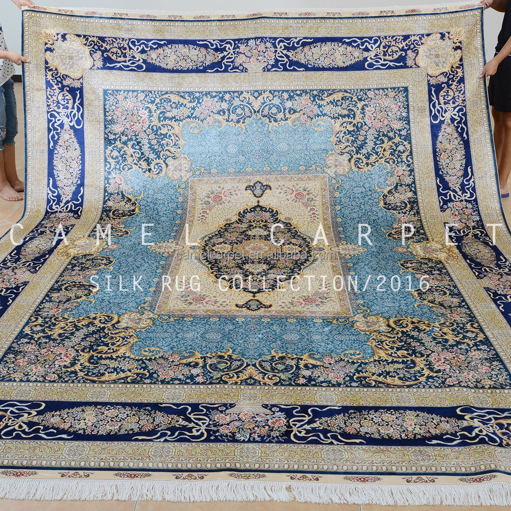 any design and size acceptable royal blue handmade silk custom rugs