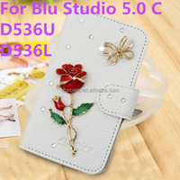 3D PU Skin flower crown Wallet Bling Glitter Gem Diamond Crystal Flip Case Luxury Wallet Leather For blu STUDIO 5.0C D536U D536L
